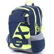 Iskola hátizsák OXY Sport Neon Dark Blue sötét kék neon zöld felsősöknek f340dca6aa